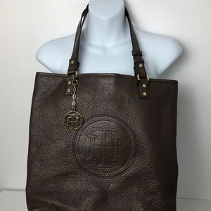 Tommy Hilfiger Brown Tote With Gold Hardware